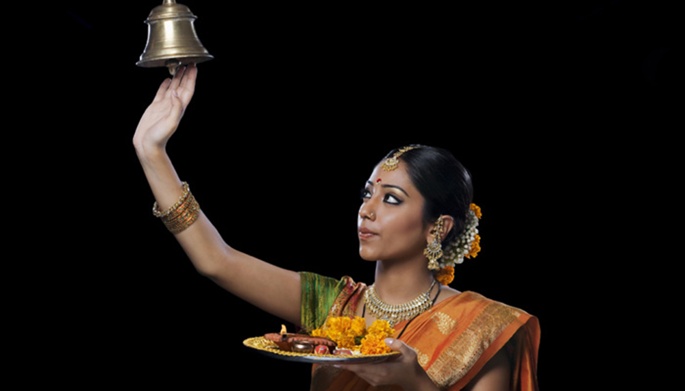 Hindu Girl doing Puja