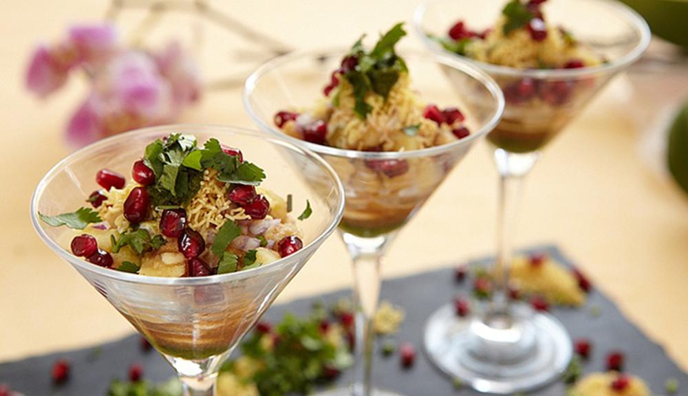 Papri Chaat in Martini Glasses